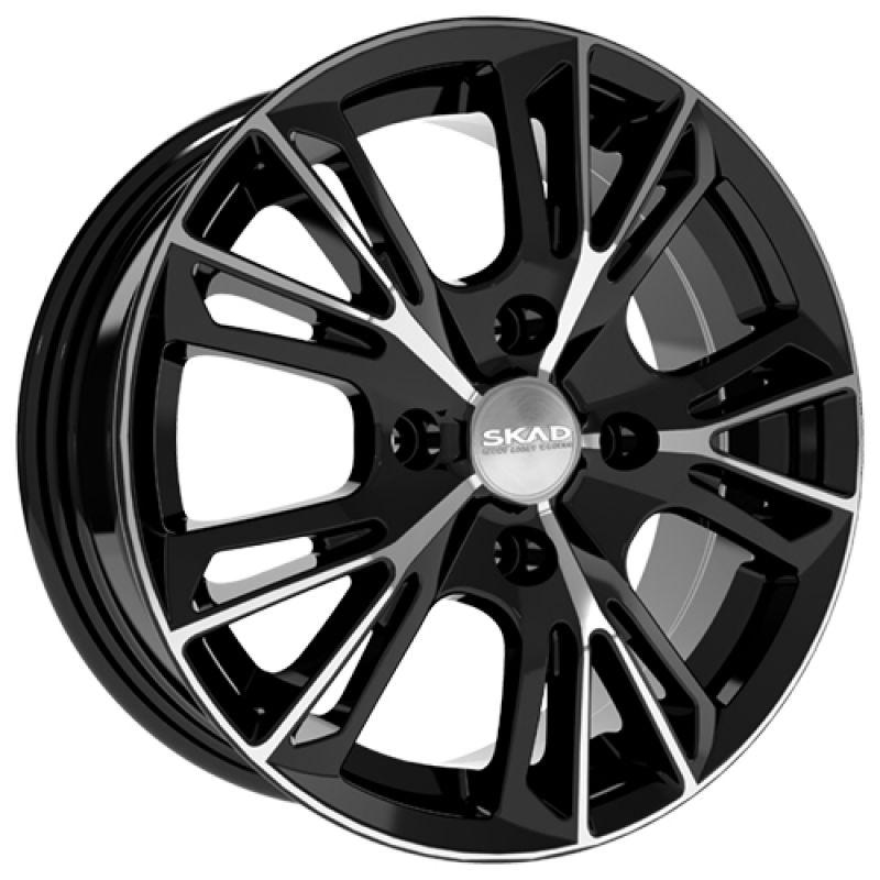 SKAD Montreal-mb 15x6.0 4x100 ET48 DIA54.1 Black Glossy Polished / Черный глянец с алмазной проточкой